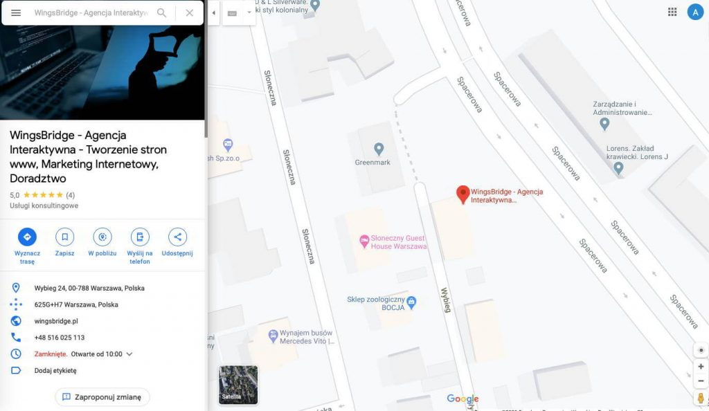Widok wizytówki Google Moja Firma