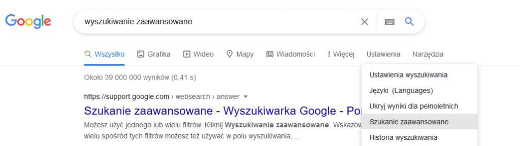 wyszukiwanie zaawansowane Google