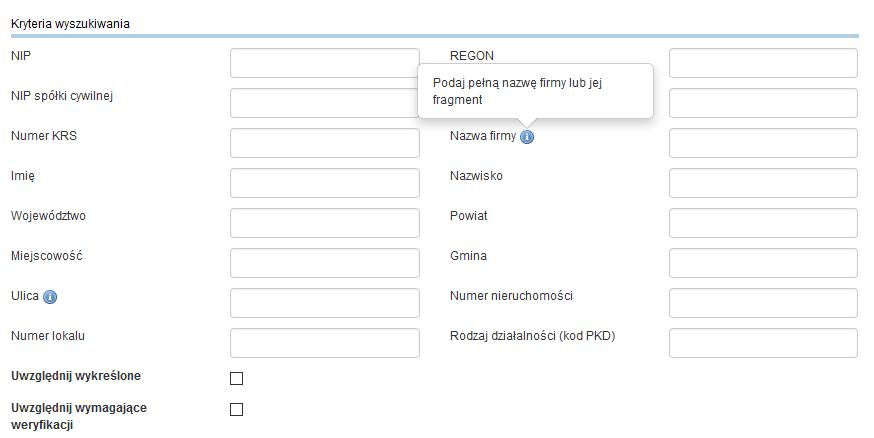 Nazwa firmy - sprawdzanie dostępności w CEIDG