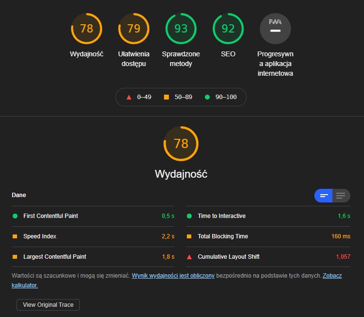 Lighthouse Google Speed Index